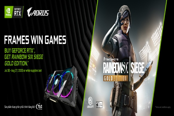 MUA CARD ĐỒ HOẠ GIGABYTE AORUS RTX 20/SUPER SERIES - TẶNG GAME TOM CLANCY'S RAINBOW SIX SIEGE GOLD EDITION